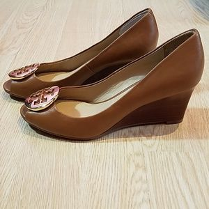 e8cd06e25334 Tory Burch Shoes - TORY BURCH  Kara  Wedge Pump Open Toe Leather Shoe